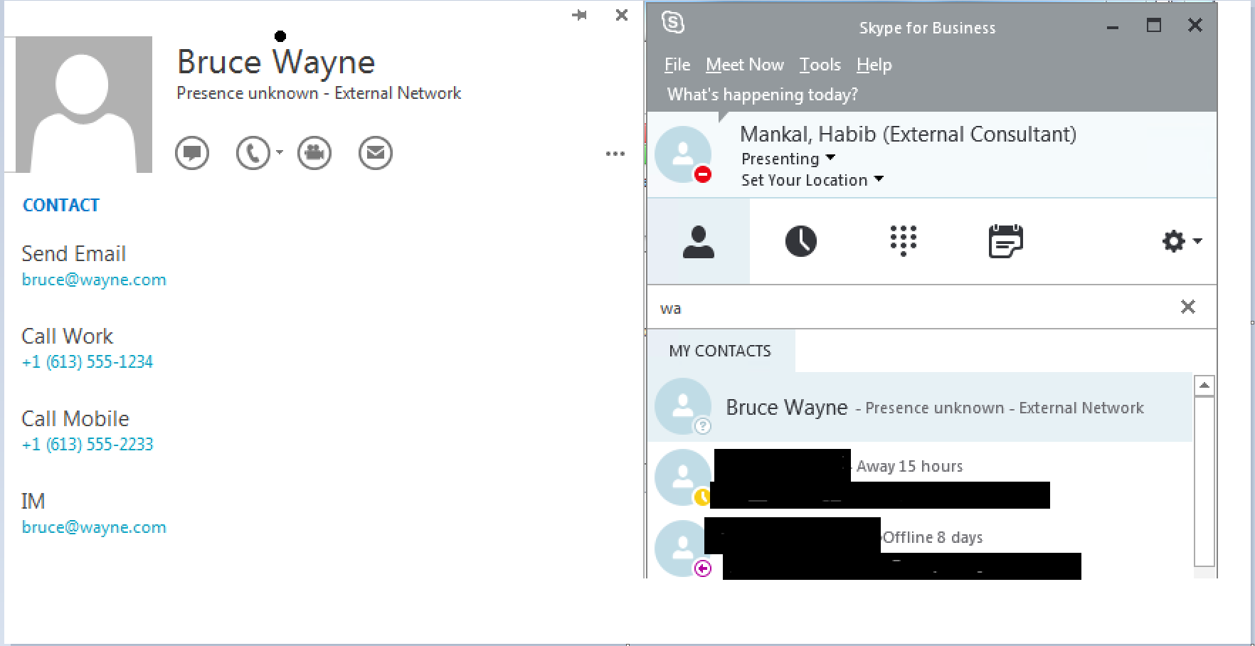 how to delete contact from skype for business